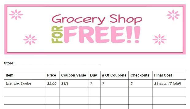 Free printable coupon shopping list