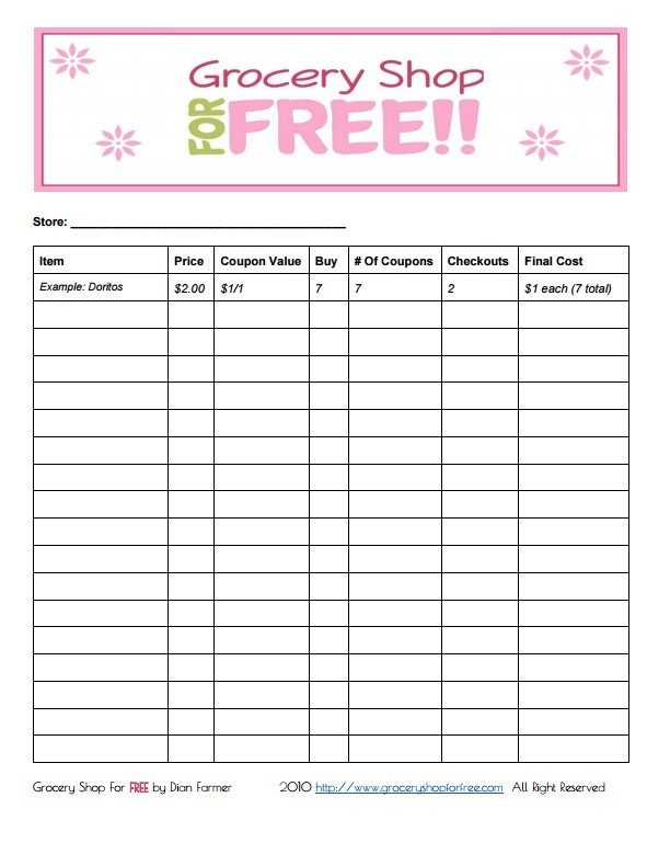 FREE Printable Coupon Grocery Shopping List