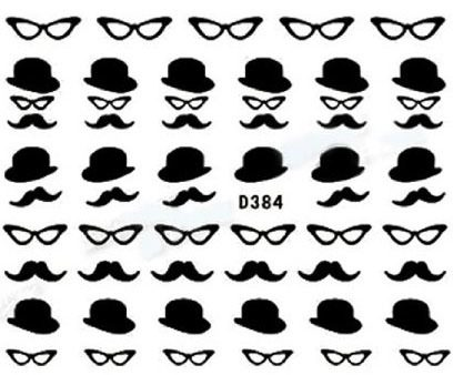 Mustache, Hat and Glasses Nail Decals