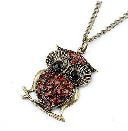 Vintage Red Rhinestone Owl Necklace Only $0.95 Shipped!