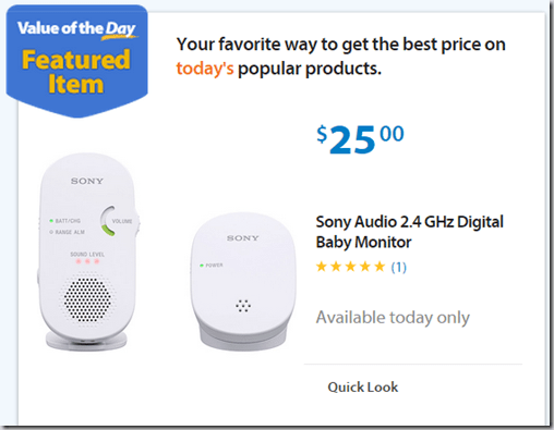 Walmart Values of the Day: Sony Baby Monitor for $25 or Tackle Bag for $8!