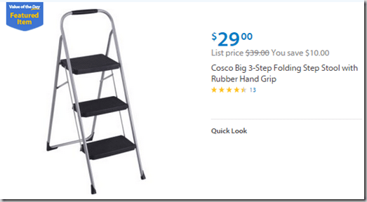 Walmart Values of the Day: 3 Step Ladder for $29 or Emerson Microwave for $50!