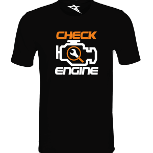 T-Shirt CHECK ENGINE BLACK ORANGE