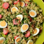 Quinoa salad with pickled radishes and quials' eggs