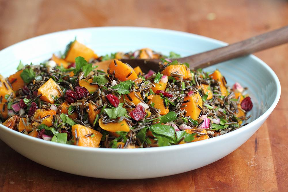 Wild rice and winter squash salad