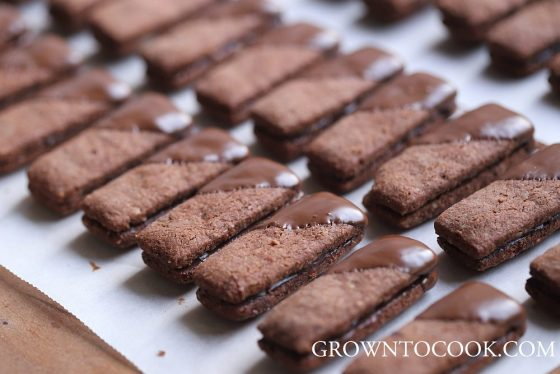 Chocolate almond sticks with cardamom ganache filling
