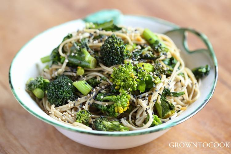 soba noodles with cabbage shoots