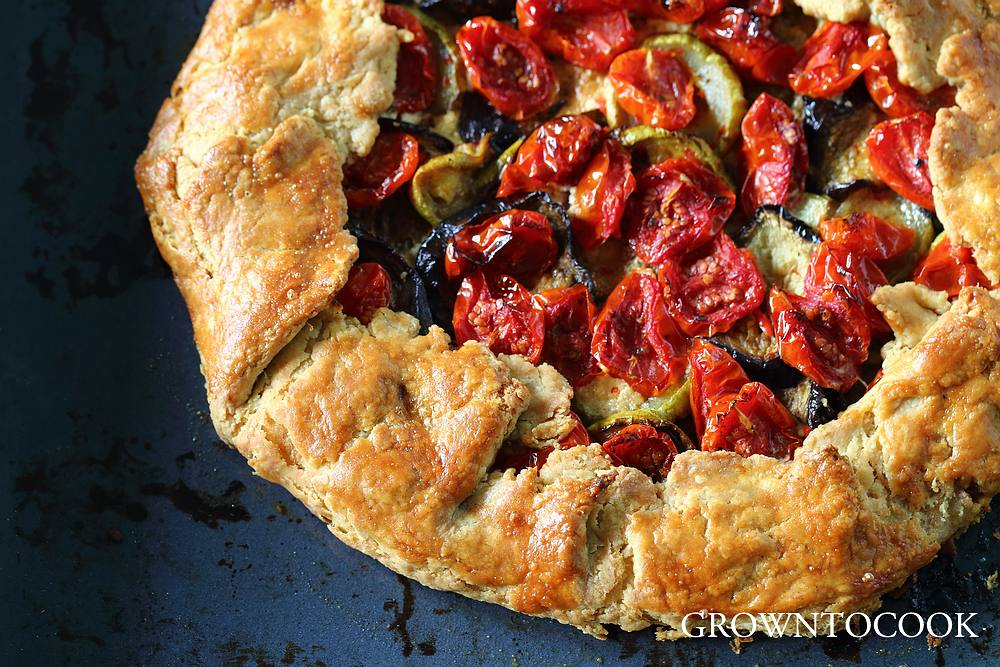 Roasted vegetables and goat cheese galette