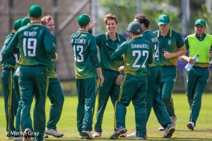 Anthony Stokes celebrates his third wicket