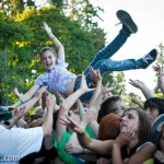 A young fan crowdsurfing during AWOL Nation at 107.7 The End's Summercamp