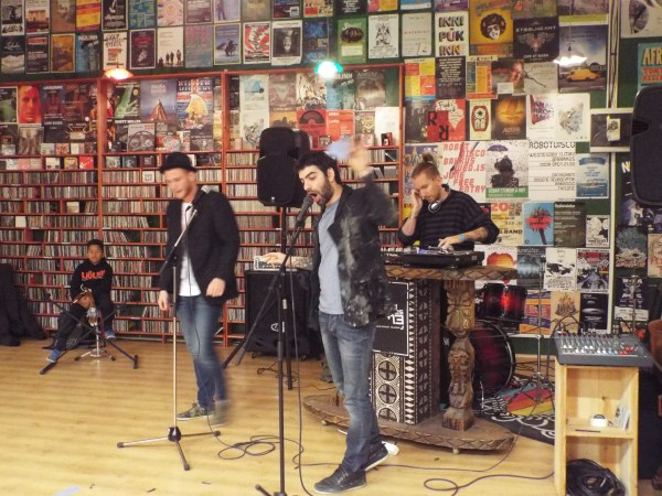 Epic Rain performing at Lucky Records. (Photo by Travis Hay)