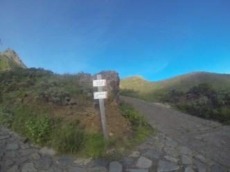 Detalle inicio sendero a La Cumbrecilla (altos de Taganana)