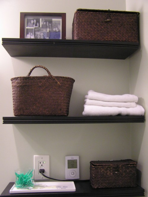 Medium Of Wooden Shelves Bathroom