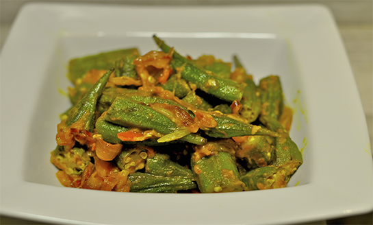 Okra with Tomatoes (Bhinda-Tameta nu Shaak)