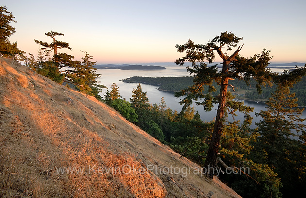 Sunset view from Mt. Norman overlooking Bedwell Harbour, South Pender Island, British Columbia, Canada