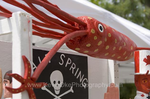 A funky folk art squid at the Ganges Saturday Market on Salt Spring Island