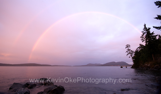 A double rainbow over Saturna Island photographed from a little south of Hope Bay, North Pender Island, British ColumbiaA double rainbow over Saturna Island, Gulf Islands