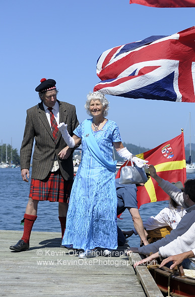 The queen arrives, Saturna Island Canada Day Lamb Barbeque