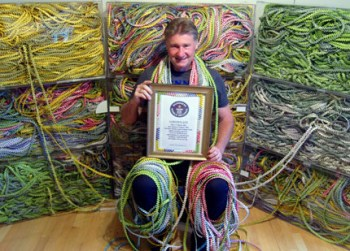 Gary Duschl of Virginia Beach, Virginia current record holder of the world's longest gum wrapper chain. Visit www.gumwrapper.com