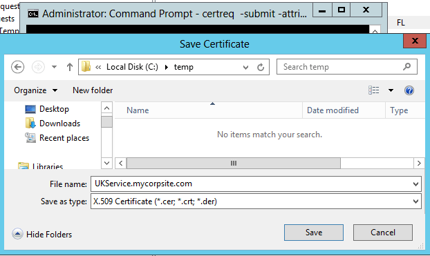 Fix the request does not contain a certificate template for The request contains no certificate template information