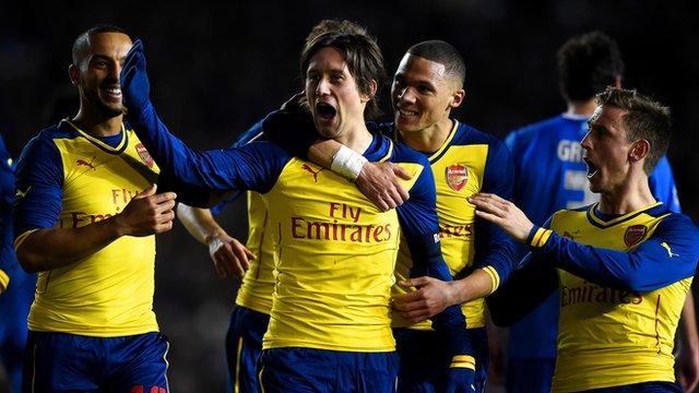 Celebrating the decisive goal v Brighton