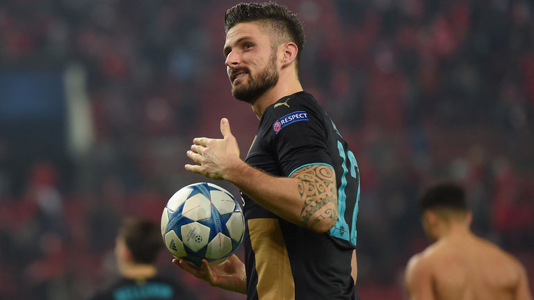Giroud turned up for the big game in Athens