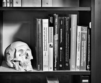 Schädel und Fachliteratur. Zahnarzt-Praxis Peter Guntermann, Olpe. Foto © Dietrich Hackenberg