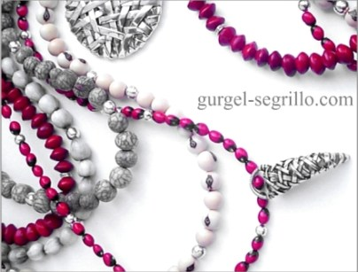 contemporary jewelery in fine silver and brazilan seeds, by visual artist patricia gurgel-segrillo