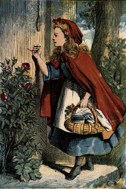 RED RIDING HOOD AT HER GRANDMOTHER'S DOOR.