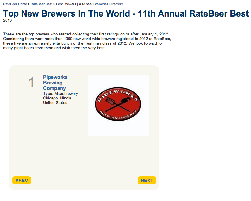 Best New Brewers - ratebeer best 2013