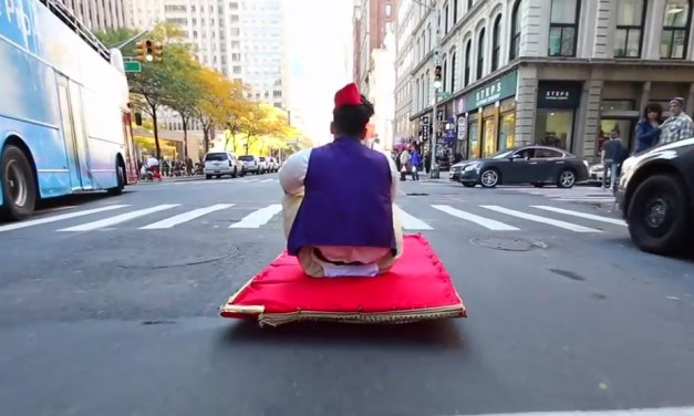 Aladdin rides around New York City with a 'real' magic carpet
