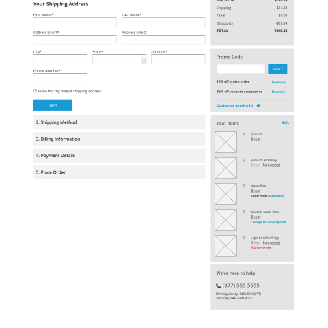 Desktop wireframe for entering a new shipping address
