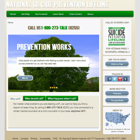 Final homepage design for the Lifeline