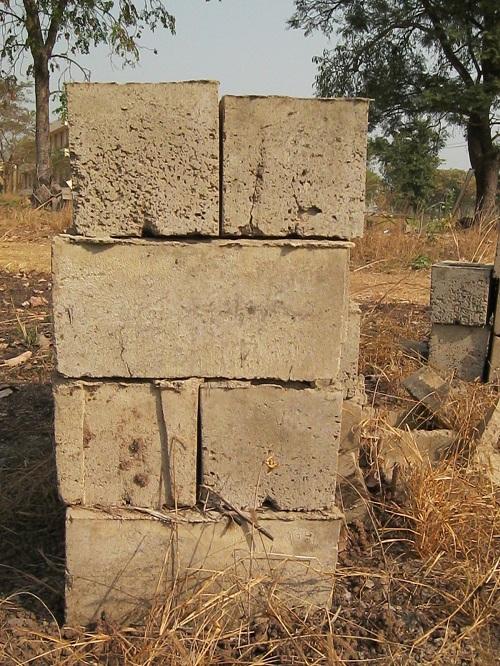 Concrete blocks on construction site