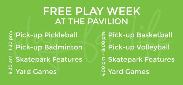 The Pavilion Free Play Week