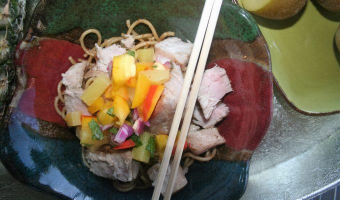 Grilled Ahi Tuna Sesame Noodle Bowls with Kiwi Pineapple Salsa