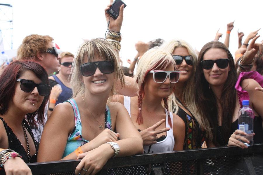 BRISBANE AUSTRALIA - FEBRUARY 27 2010: Fans enjoying themselves at Future Music Festival