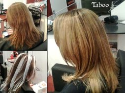 Balayage highlighting result