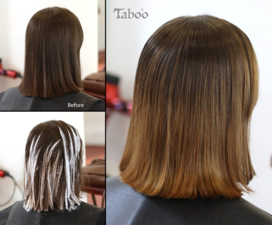Highlighting using balayage result before and after