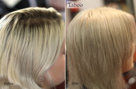 Ash blonde colour retouching photo