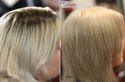 Ash blonde colour retouching photo