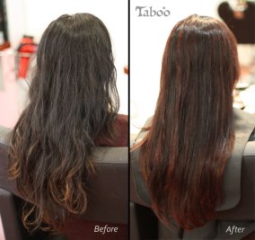 Dark red balayage highlights