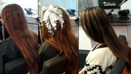 Foil blonde highlights and dark brown lowlights