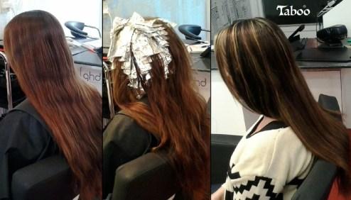 Foil blonde highlights and dark brown lowlights