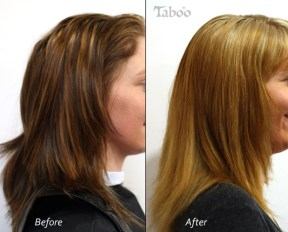Hair foil highlights before and after photo