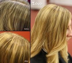 Blonde colour foil highlights photo