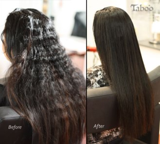 result of hair straightening process on long hair