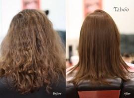Chemical hair straightening result