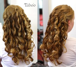 updo style with flowing curls on long hair photo