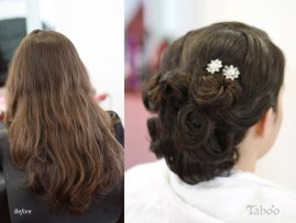 hair updo before and after photo